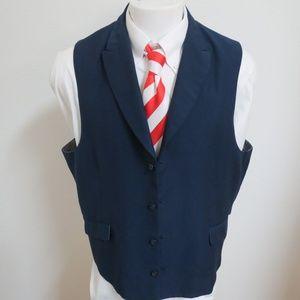 Sz 50L Navy Blue Pierre Noir Mens #93N Suit Vest